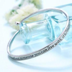 Jewelry - Love Quote Engraved Hook-Eye Bangle Bracelet